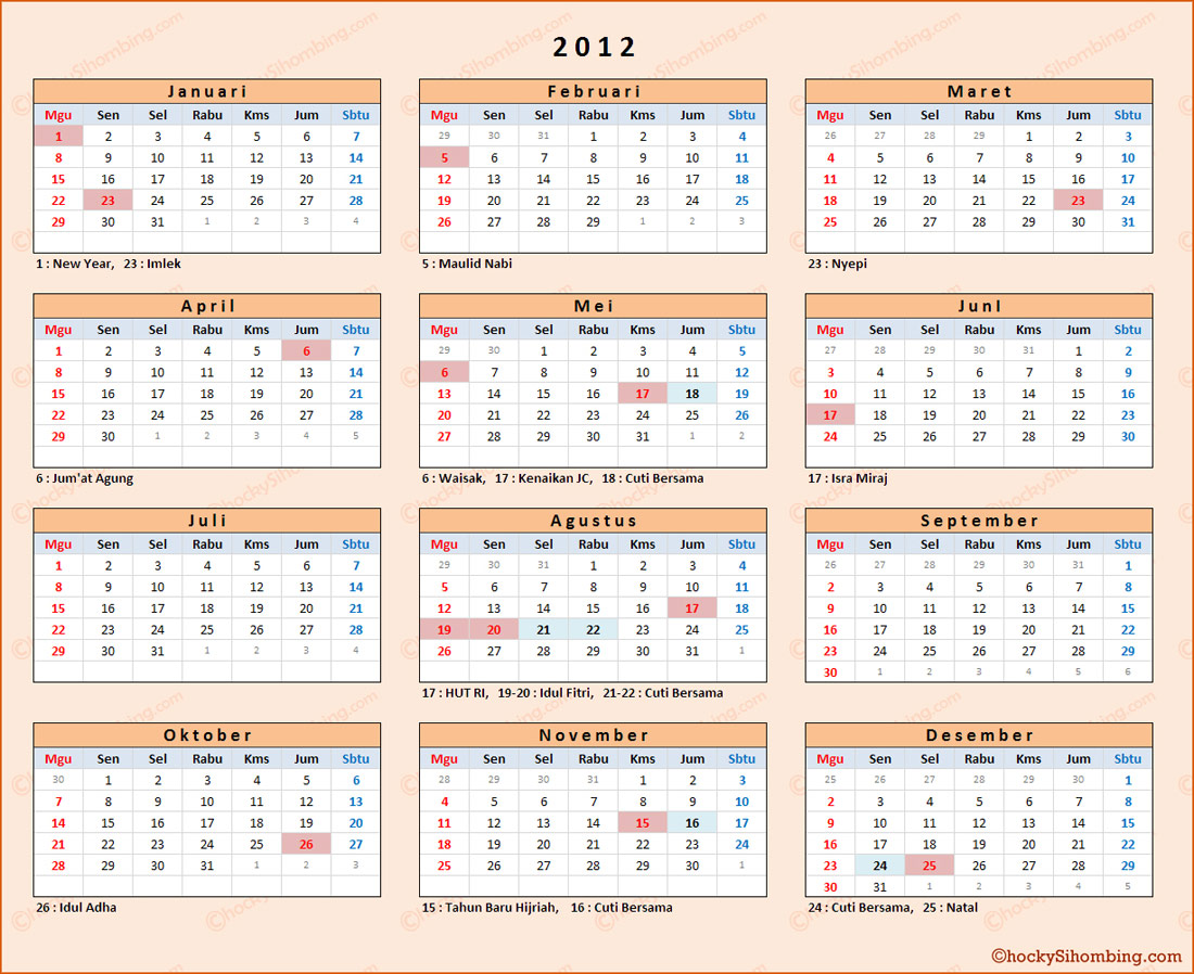 Kalender Indonesia 2012 | New Calendar Template Site