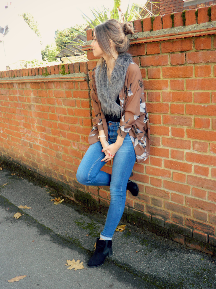 Love From Lisa Bird Kimono & Faux Fur