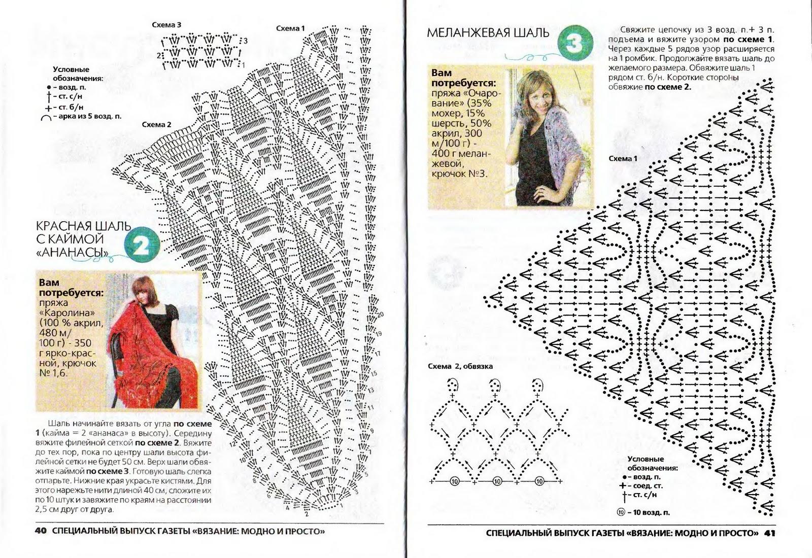 Шали, палантины, накидки связанные крючком, описание 3
