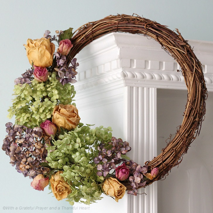 Amazing Preserve Hydrangea, Roses And Garden Flowers By Drying Then Used To Create  A Lovely Wreath