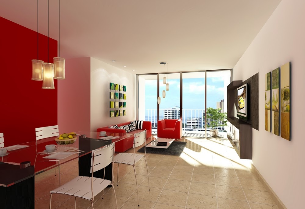 Muebles x muebles decorar la sala en color rojo - Decoracion de interiores living comedor ...