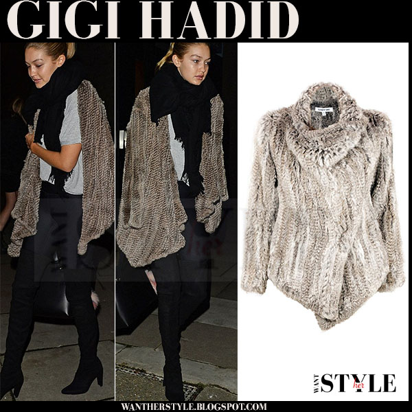 Gigi Hadid in fur elizabeth and james elijah jacket, black skinny jeans and black suede stuart weitzman alllegs boots what she wore