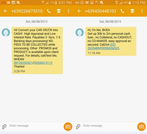 spam or scam messages