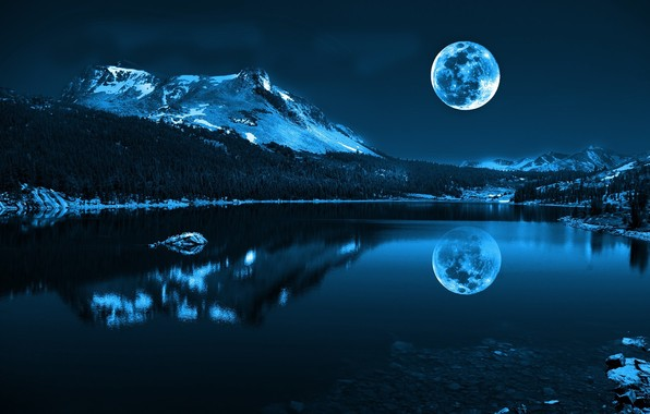 Moon and Snowy Mountain Reflection on Lake Night HD Wallpaper