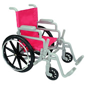 Pink Wheelchair Includes Crutches,Arm and Leg Cast