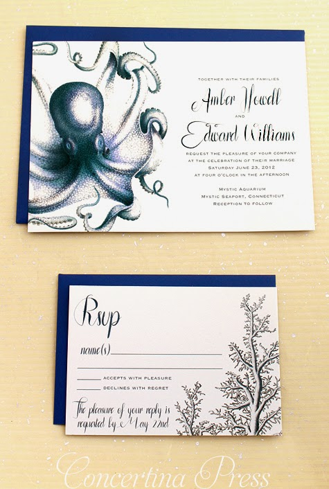 Navy Octopus Wedding Invitations by Concertina Press