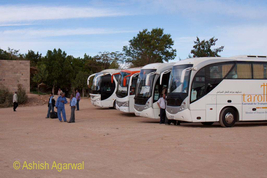 Drivers and tourists near the parked buses at the Abu Simbel temple in Egypt