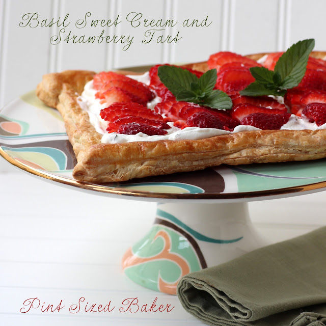 Organic Basil and Strawberry Tart from @pintsizedbaker #SpingFlavors