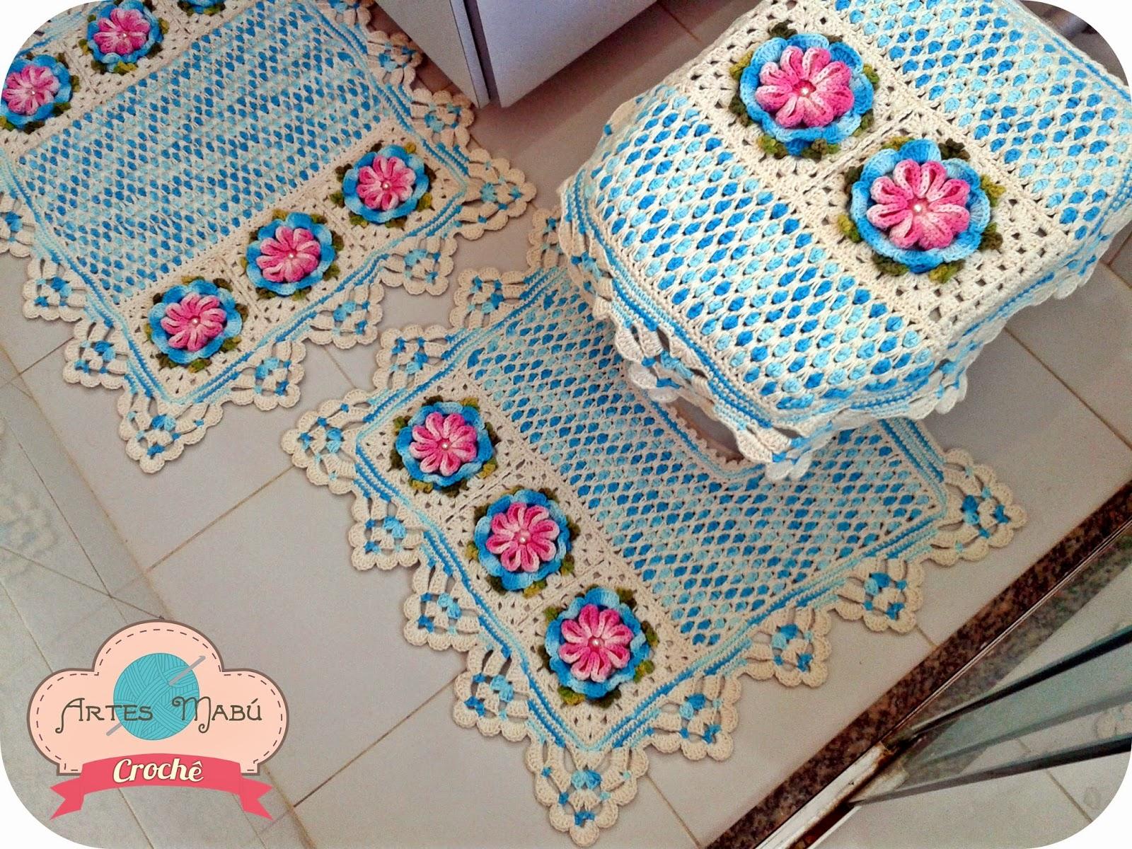 em Crochê: Jogo de banheiro Vintage e o ponto azulejo marroquino #1D7EAE 1600x1200 Banheiro Com Azulejo Retro