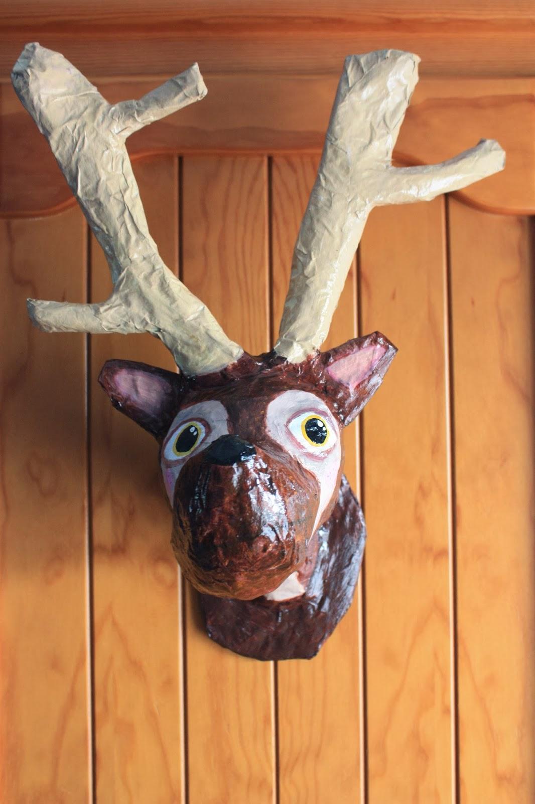 Cosas de una cantimplora cabeza de ciervo en papel mach - Cabeza ciervo carton ...