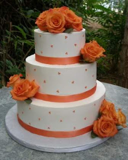 Buttercream Orange Swiss Dots Wedding Cakes