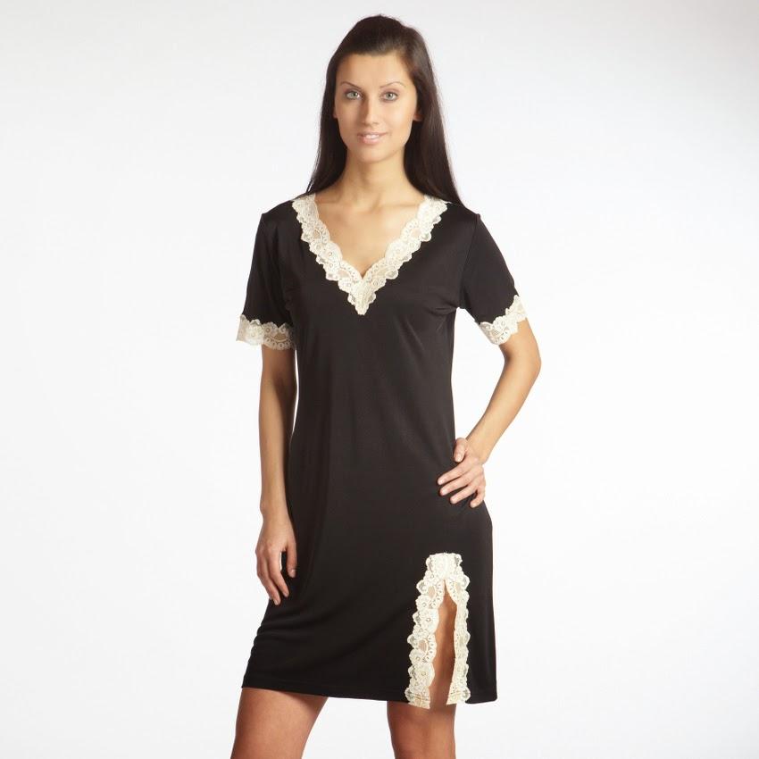 Kurzarm-Seidennachthemd Tahiti schwarz-creme von Gattina