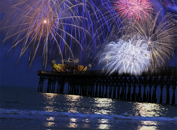 4th of July fireworks on the Cherry Grove Pier in North Myrtle Beach