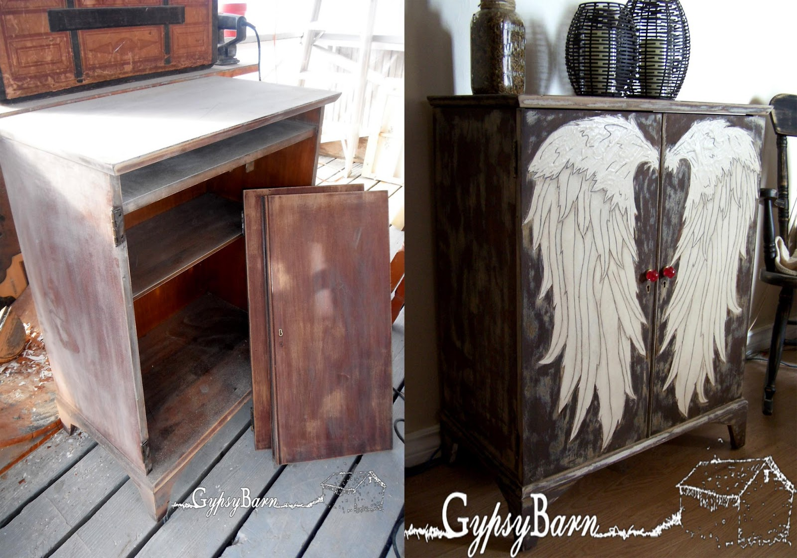 Gypsy Barn The Angel Wing Cubby burning painting