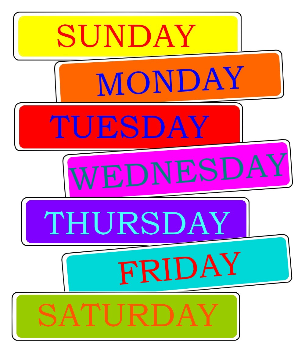 """Résultat de recherche d'images pour """"jour de la semaine en anglais"""""""
