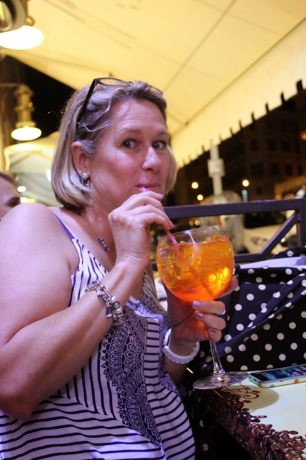 The Winey Mom sipping a Spritz in Rome
