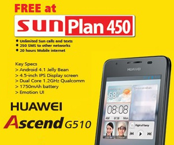 Sun cellular offers huawei ascend g510 on their postpaid for Sun mobile plan