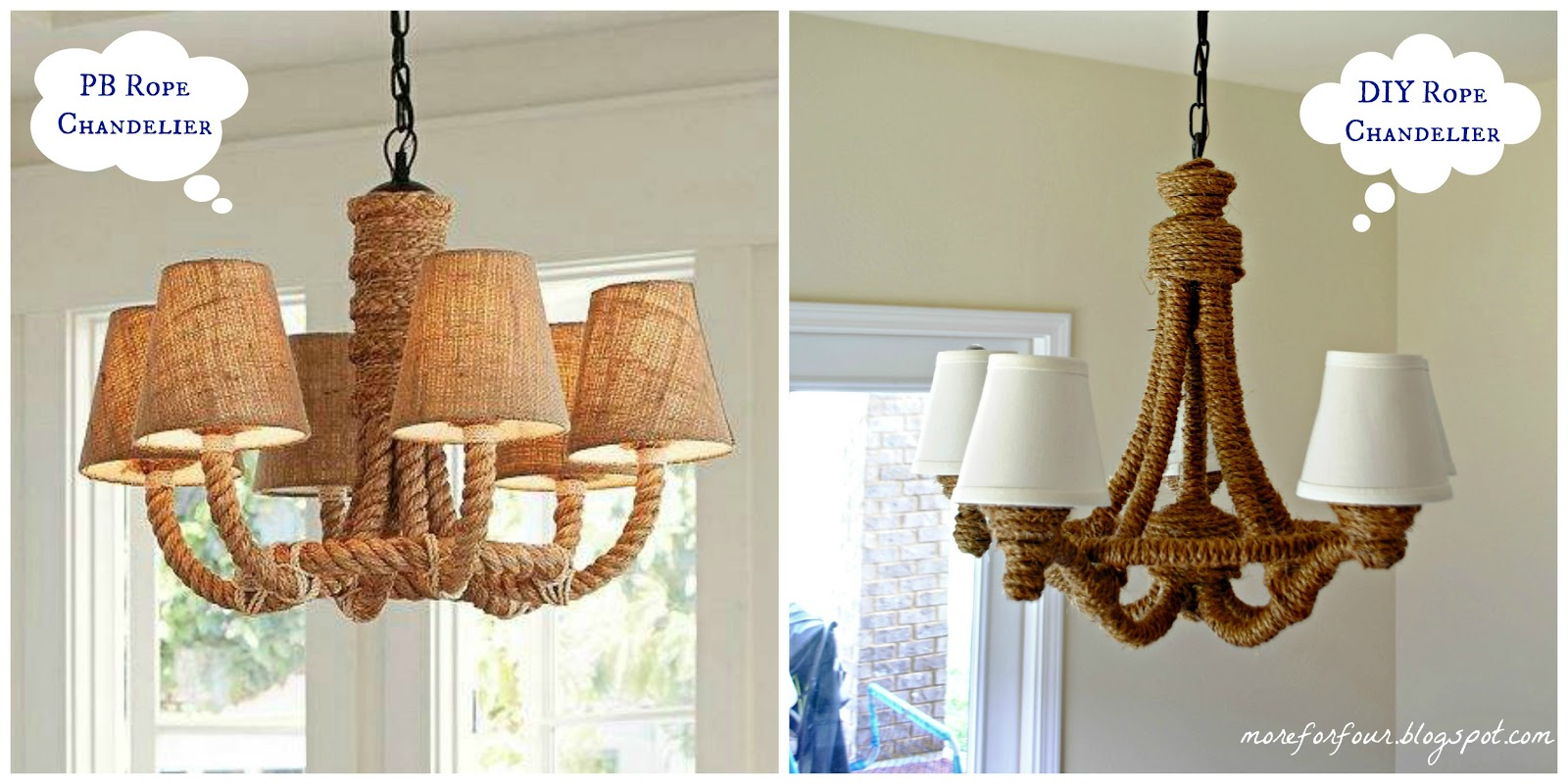 More for four diy pottery barn rope chandelier arubaitofo Gallery