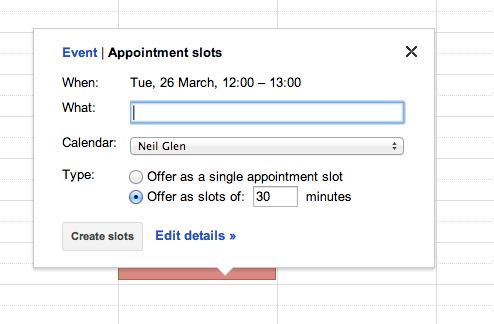 Appointment slots in google calendars learning technology one useful feature is the ability to schedule appointment slots to make yourself available for tutorials to do this select the time during which you wish solutioingenieria Image collections