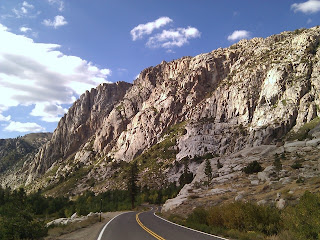 Scenic California Highway 108 approaching granite cliffs, west of the Sonora Pass