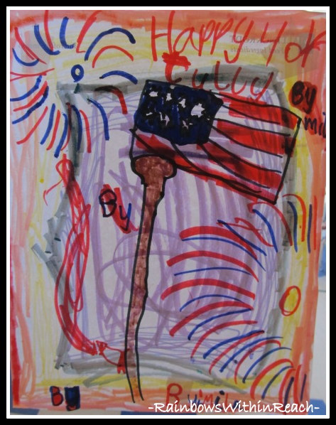 photo of: Child's Flag Drawing for Fourth of July with Fireworks