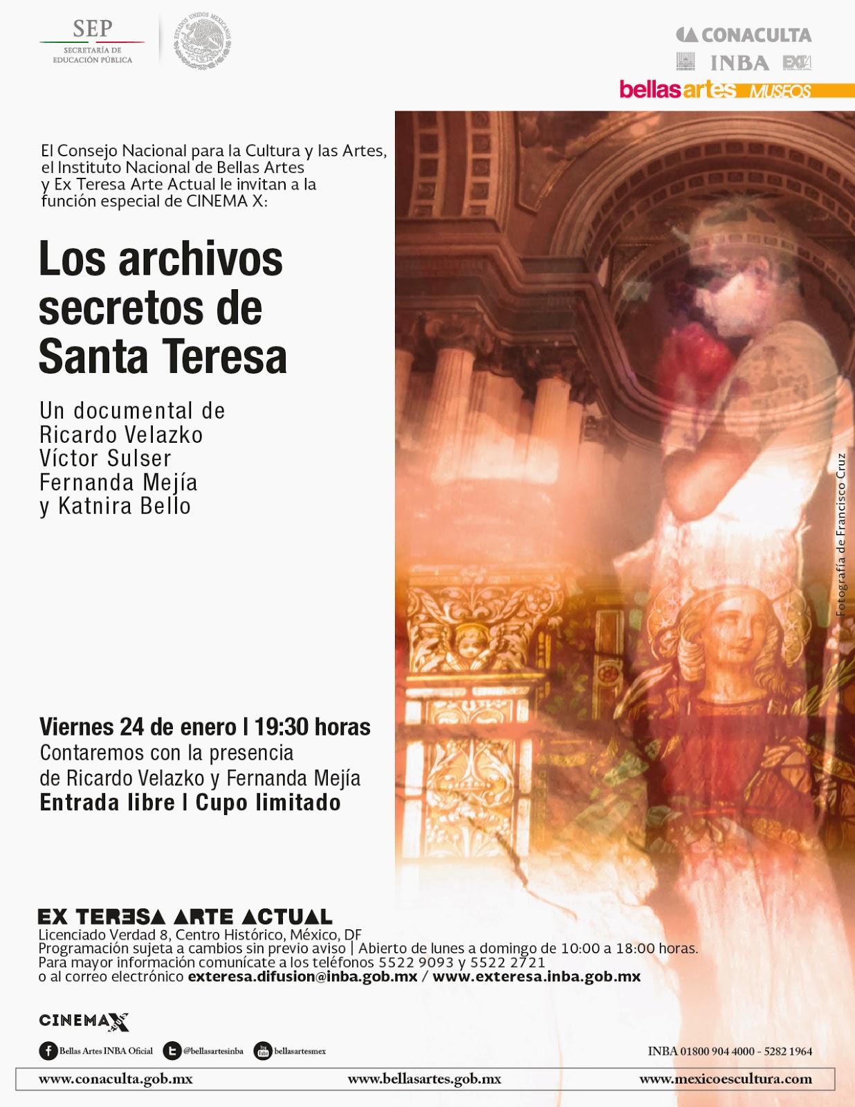"""Presentan documental """"Los archivos secretos de Santa Teresa"""" en el Ex Teresa Arte Actual"""