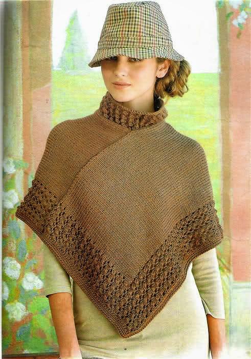 Poncho tejido con Dos Agujas y terminaciones al crochet - con ...