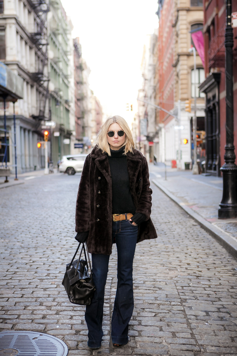 Fashion Over Reason in NYC, vintage faux fur coat, J Brand Jeans, Love Story jeans, J.Crew chunky turtleneck, Ray-Ban Lennon sungalsses, SoHo New York City