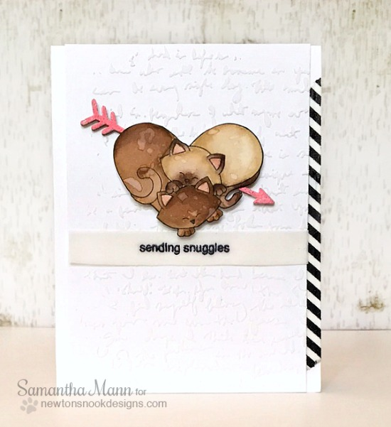 Kitty Heart Valentine Card by Samantha Mann | Darling Duos Stamp Set by Newton's Nook Designs #newtonsnook