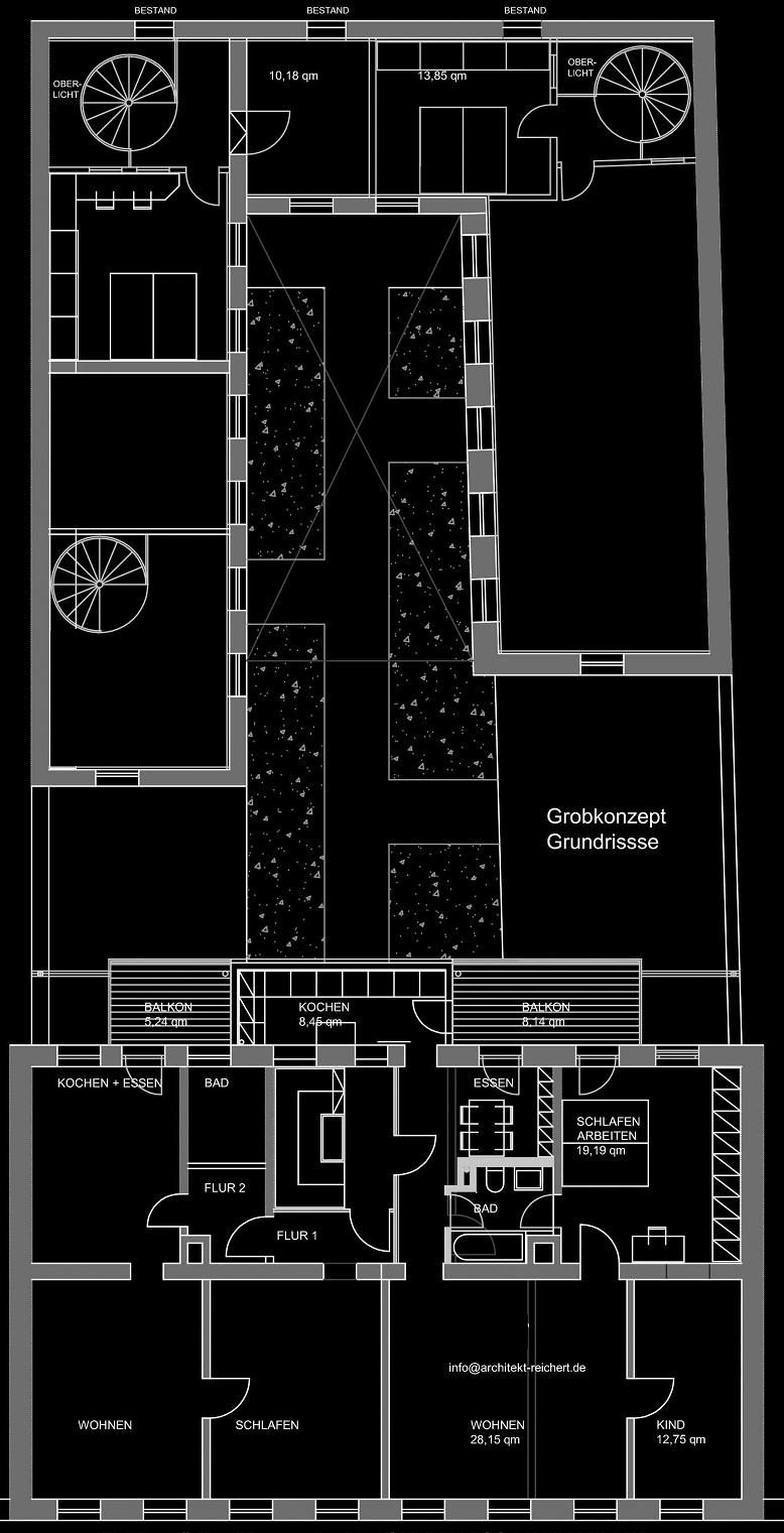 Grundrisse (Vordergebäude - Rückgebäude - Innenhof) (05-2012)