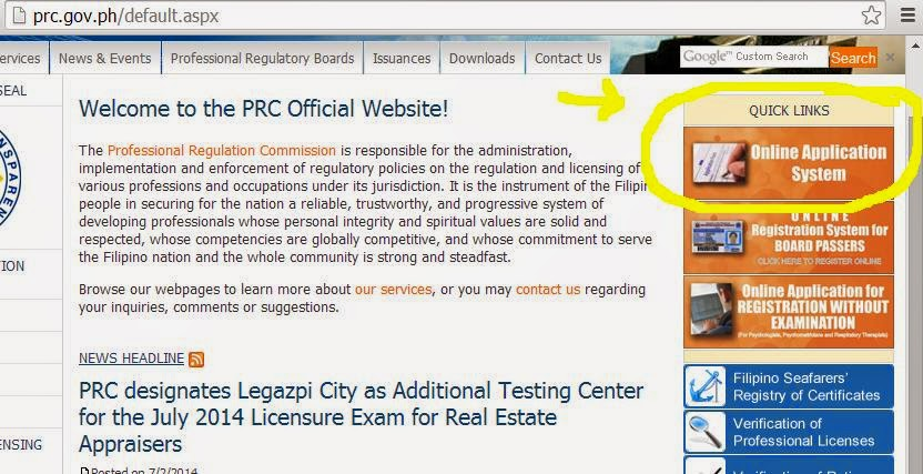 prc online application confirmation email