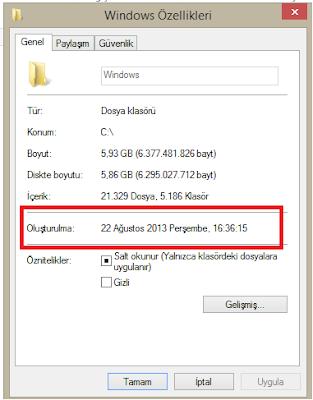 Windows Kurulum Zamanı