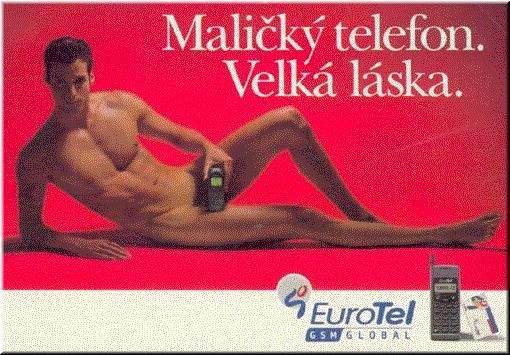 mały telefon, wielka laska, reklama, billboard