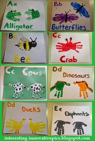 A to e hand print alphabet arts for kindergarten kids for Hand and feet painting ideas