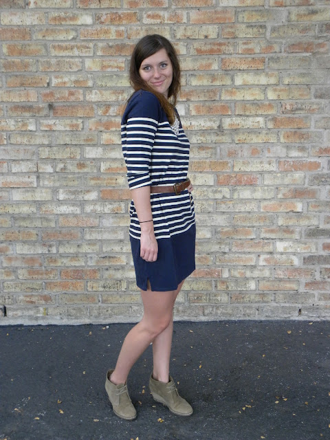 J.Crew striped tunic dress with MacCalister wedge boots
