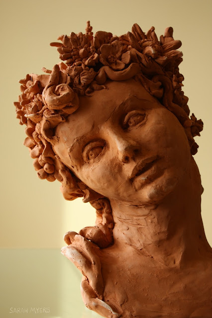 spring, face, sarah, myers, sculpture, earthenware, glance, flowers, woman, blooms, hair, red, detail, mouth, human, baroque, figurative, allegorical, classic, arte, art, escultura, seasons, life-size, personification,