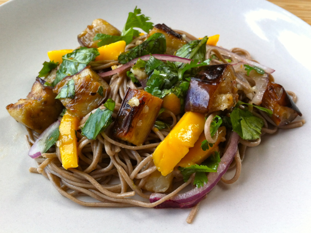 Little Bit Burnt: Soba noodles with eggplant and mango