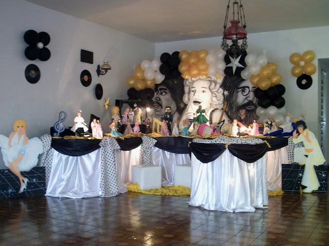 decoração de festa de aniversário - Anos 60 e70