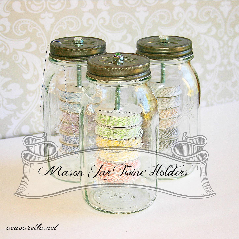 Mason jar twine holders 39 a casarella for Mason jar holder ideas