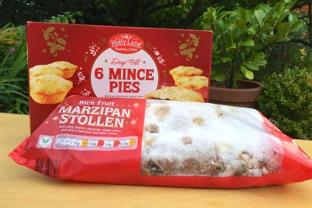 Vegan stollen and mince pies at Aldi