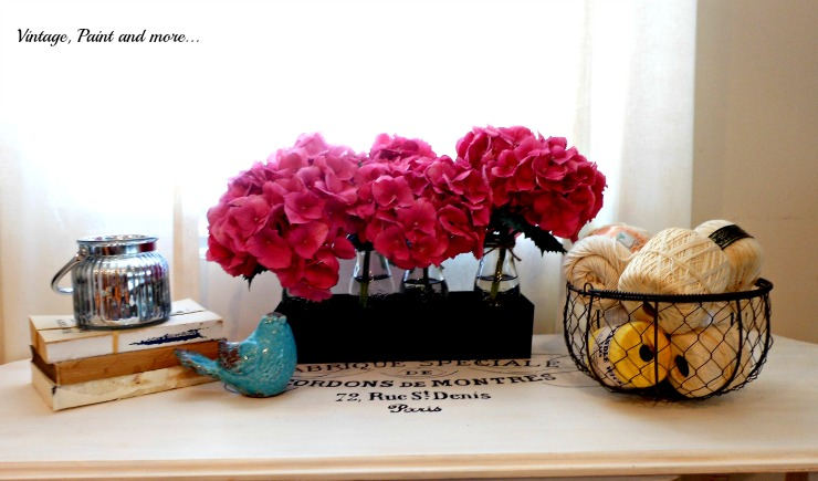 Vintage, Paint and more... hydrangeas in the decor with mercury glass votive and wire egg basket
