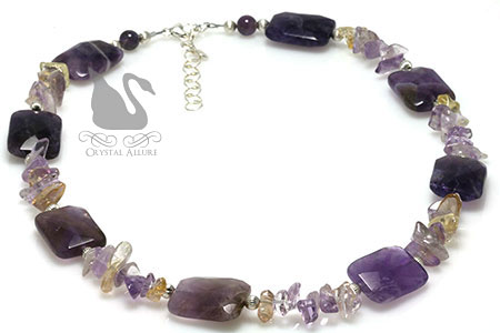 Amethyst Citrine Gemstone Beaded Necklace (N098)