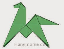 Bước 14: Hoàn thành cách xếp con Ngựa con biết nhào lộn bằng giấy đơn giản