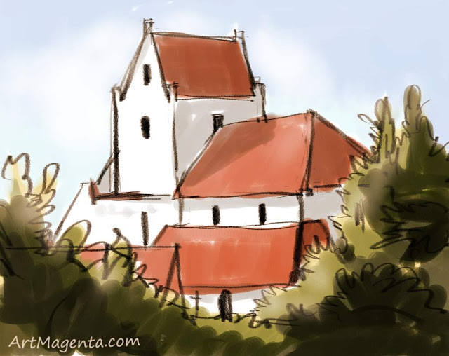 Dalby church is a drawing by artist and illustrator Artmagenta