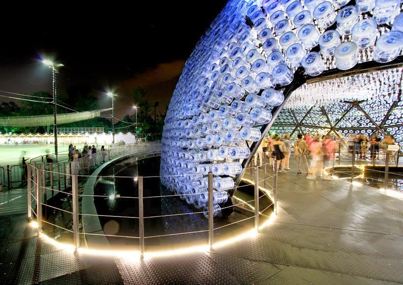 Instalacion con Botellas Recicladas y bombillas LED