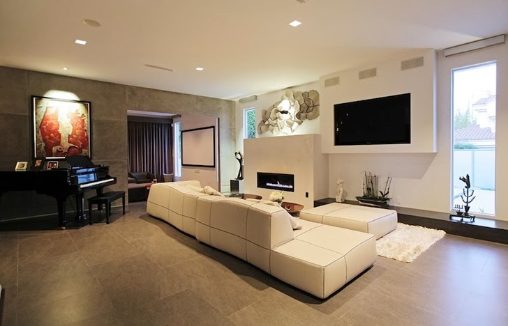 Piano room in Modern Beverly Hills House with open interiors