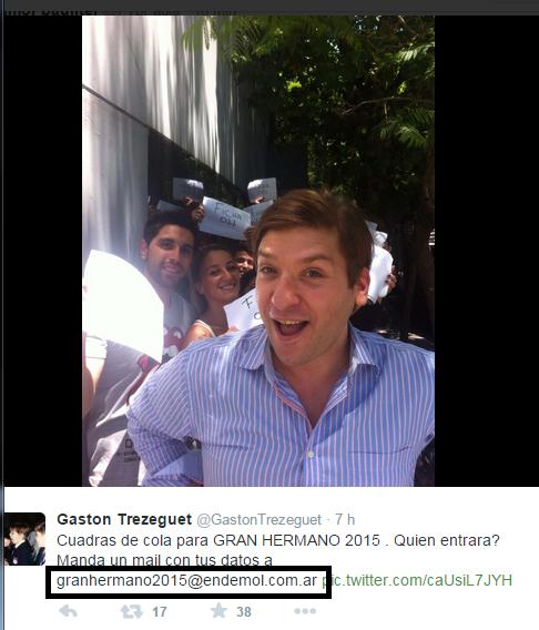 Gastón Trezeguet en el casting de GH 2015