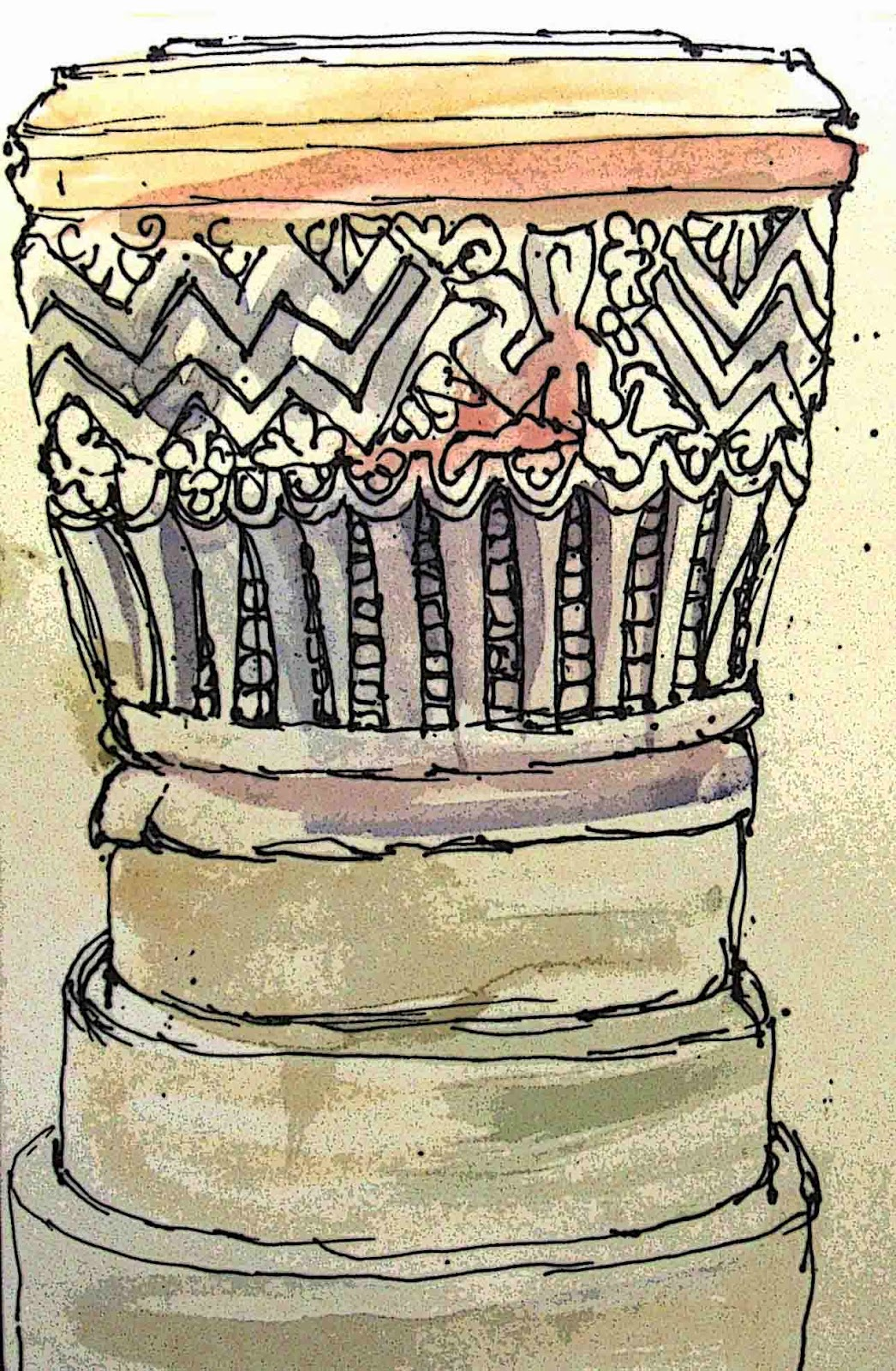 Drawing of the Norman font at Winterbourne Monkton, Wiltshire