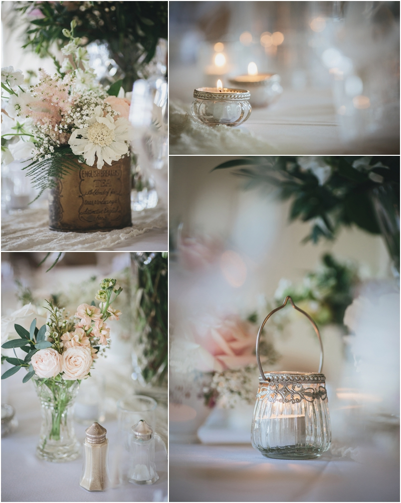 Flowers and candle details in reception room
