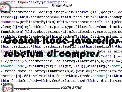 contoh kode javascript sebelum di kompress